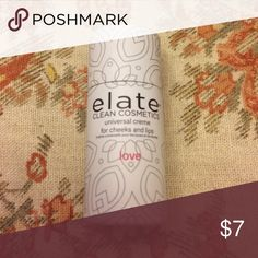 Elate Universal Cream for cheeks and lips Brand new cream blush and lipstick. The color is called love, it is a neutral pink. Cruelty free, all natural ingredients. Elate Clean Cosmetics Makeup Blush