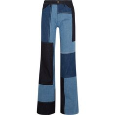Victoria, Victoria Beckham Patchwork high-rise wide-leg jeans ($465) ❤ liked on Polyvore featuring jeans, pants, light blue, wide leg blue jeans, high-waisted jeans, relaxed jeans, high waisted jeans and patchwork jeans
