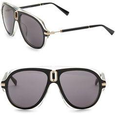 f7ad76ade960e Balmain Smoke Tint 57MM Aviator Sunglasses (600 CAD) ❤ liked on Polyvore  featuring men s