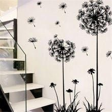 Hot black dandelion sitting room bedroom wall stickers household adornment wall stickers on the wall(China (Mainland))
