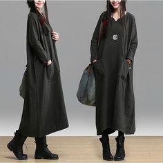 2014 moda outono personalidade estilo solto das mulheres plus size lados bolso jag vestido longo transporte livre de manga comprida casuais