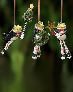 Krinkles by Patience Brewster - Frog Ornament Set of 3 (Retired) - frogs with tree & wreath in personal collection