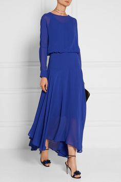 Bright-blue chiffon Button-fastening keyhole at back, concealed zip fastening along side 100% polyester; lining: 100% viscose Dry clean Designer color: Electric Blue