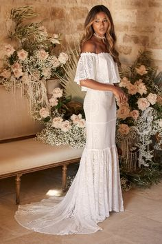 100 Boho Wedding Decor Finds You'll Love! | The Perfect Palette White Bridal Dresses, White Maxi Dresses, Bridal Gowns, Wedding Dress Sleeves, Wedding Dress Styles, Dream Wedding Dresses, Wedding Gowns, Creative Wedding Inspiration, Boho Wedding Decorations