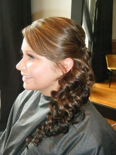 Curly side ponytail prom style