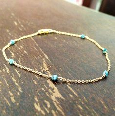 Blue Diamond Bracelet Yellow Gold Jewelry Chain by jewelrybycarmal, $65.00