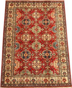 Today's Kazak is a modern shape of old Caucasian rugs which strictly adheres to traditional design elements of the Caucasus. It has elements such as the stepped hooked polygons, geometrical medallions and rosettes, presented in more stylized manner and with a new dimension.  http://www.alrug.com/4623