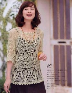 Patrón #1283: Blusa de Encaje a Crochet | CTejidas [Crochet y Dos Agujas]