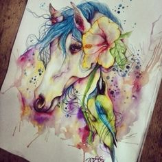 Watercolor horse painting in the most amazing colors with flowers. Beautiful! Художник Mark A DelaCruz