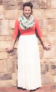 Seychelle: womens 3/4 sleeve color block maxi dress with flowy bottom available in coral and mint