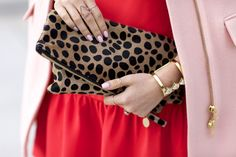 Leopard clutch with gold accessories...