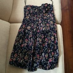 MM Couture Large Floral Navy Strapless Dress Worn only twice! Great condition MM Couture Dresses Strapless