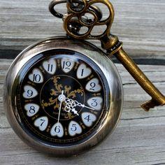 Alice in Wonderland Steampunk pocket watch key pendant charm necklace locket Victorian wedding bridal. $39.99, via Etsy.