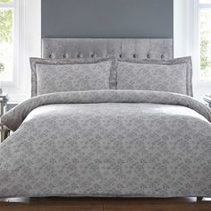 Bianca Cotton Soft Grey Sprig Duvet Cover and Pillowcase Set | Indulge yourself with the Bianca Cotton Soft Sprig Jacquard Range. This stunning duvet set is made from pure 100% 230 thread count cotton, with delightful sprigs of foliage in subtle tones of grey that are woven into the crisp white background. Duvet set comprises of duvet cover and pillowcase(s), one with the single and two with the double, king and super king #Kaleidoscope #Bedroom #homes #homebloggers #style…