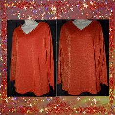 SHINE in this CERVELLE RED/GOLD sparkle metallic Holiday top 1X  #Cervelle #KnitTop #EveningOccasion