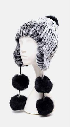 af9b8b33 US $75.98  Aliexpress.com : Buy HA142 New 2016warm hand knitted fur cap  with genuine rex rabbit.Large four black ball autumn winter Mongolia fur hat  female ...