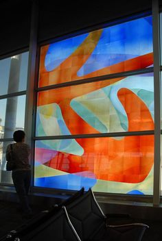 Indianapolis Airport #IND artists: Martin Donlin fabricator: Franz Mayer of Munich. Etched, sandblasted, laminated mouth-blown stained glass.
