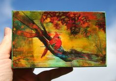 Autumn Cardinal 3x5 wood mounted mixed media by dahliahousestudios, $20.00