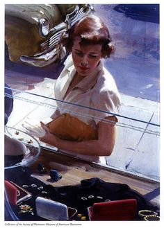 Shop Window - Illustrated by Harry Anderson. Anderson was allergic to oil paint -- so he taught himself to emulate the Haddon Sundblom studio's buttery look in watercolour and gouache. (via  Eric Colquhoun & Leif Peng)
