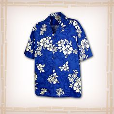 "FREE SHIPPING – EVERY ORDER, EVERY DAY! Hawaiian Shirt ""60's Hibiscus"" By Pacific Legend – Blue  Coconut shell buttons and matching print engineered chest pocket. This Pacific Legend Hawaiian Shirt Garment is 100% Cotton and MADE IN HAWAII. http://hawaiianshirtdude.com/product/hawaiian-shirt-60s-hibiscus-pacific-legend-blue/"