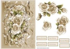 Cream rose card with decoupage on Craftsuprint designed by Angela Wake - Cream rose card with decoupage and sentiment tags, a card for lots of occasions - Now available for download!