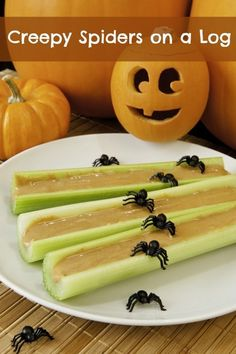 Spiders on a Log Healthy Halloween Snack