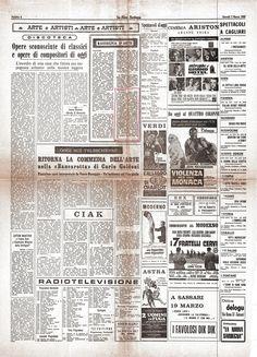 LA NUOVA SARDEGNA - edizione 7 marzo 1968 pag.6 - Rassegna d'Arte a Oristano dove partecipa il Maestro Paolo Salvati.