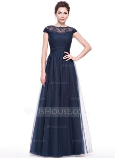 A-Line/Princess Scoop Neck Floor-Length Tulle Lace Evening Dress With Ruffle Beading Sequins (017065556)
