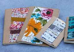These moleskin scrapbooks are so simple and pretty! All you need is a notebook, fabric and a sewing machine