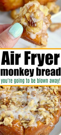 Air fryer monkey bread will make your mouth water! If you haven't made dessert in your Ninja Foodi yet you're in for a treat. #airfryermonkeybread #monkeybread #airfryerdessert #airfryerrecipes #ninjafoodirecipes Best Bread Recipe, Quick Bread Recipes, Easy Dinner Recipes, Beef Recipes, Snack Recipes, Easy Meals, Dessert Recipes, Cooking Recipes, Keto Desserts
