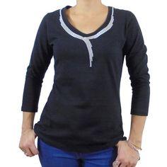 Camiseta algodon mujer collar bordado
