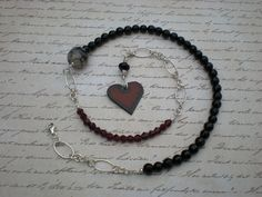 Chained to your heart beaded necklace one of a kind by #greygirldesigns, $88.00 via #Etsy