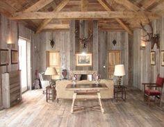 Reclaimed barn Paneled Ceiling | Barn Siding (Wall), Antique Brown Barn board (Ceiling), Antique Barn ...