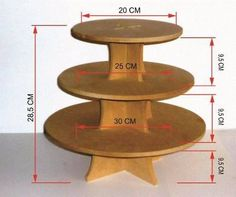 bases para cupcakes, para torta,  en mdf Cake Pop Stands, Cake And Cupcake Stand, Corner Furniture, Furniture Making, Diy Wood Projects, Wood Crafts, Porta Cupcake, Glitter Wine, Candy Table
