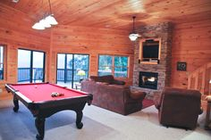 Large recreation room, pool table, wet bar, wi fi, leather sofas, gas log fireplaces & mountain views! @ www.mtngetawaycabins.com