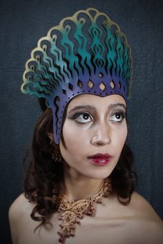 Cleopatra leather headdress in violet teal and gold by TomBanwell