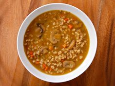 Mushroom Barley Soup - robust and flavorful deli-style soup. Chicken or vegetarian broth. Kosher, Jewish, healthy, comfort food, deli.
