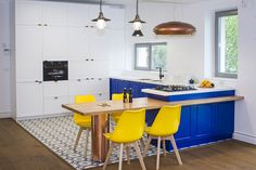 Modern kitchen design with colored tiles, copper accents and industrial touch