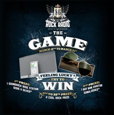 Try to win 1 SoundDock Bose, 1 Ray Ban sunglasses and rock prizes by participating in The Game apps! #win #rockradio