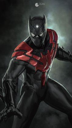 Spider-Bat (Spider-Man / Batman) by Charles Logan Dc Comics Art, Marvel Dc Comics, Marvel Heroes, Marvel Avengers, Marvel Wallpaper, Black Wallpaper, Hd Wallpaper, Black Panther Marvel, Amazing Spiderman