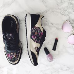 Joie Floral Sneakers Who says you have to trade comfort for fashion? Not with our Joie floral sneaks! A trendy floral pattern with pops of purple and gold. These shoes make it easy to go from morning work out to night out with friends!   Featuring faux suede and metallic leatherette upper, multicolor floral fabric panels with lace overlay, padded collar, lace up front, round toe, flat heel, and cushioned insole. Alyssa's Posh Closet Shoes Sneakers