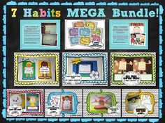 7 Habits MEGA Bundle -- All 7 Craftivities, Journal/Goal Setting Guide, Posters and BONUS 7 Habits Award Certificates!