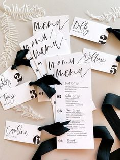 Alex Customized Menu and Place or Escort Cards Wedding Place Cards, Wedding Menu, Wedding Paper, Wedding Planning, Black And White Wedding Theme, Champagne Vinaigrette, Green Peppercorn, Copper Rose, Pretty Photos