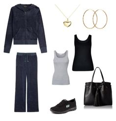 Velour sweatsuit ensemble by dannyzoe on Polyvore featuring Juicy Couture, City Chic, Splendid, Skechers, Kenneth Cole Reaction, Argento Vivo and Pernille Corydon