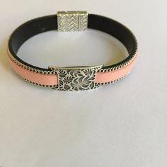 Silver Leaf Design Slide Leather Bracelet by joytoyou41 on Etsy
