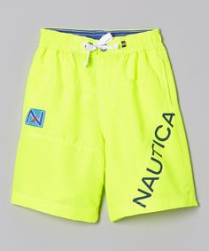 Nautica Neon Yellow Swim Trunks - Boys by Nautica #zulily #zulilyfinds. 4-7, $15.99