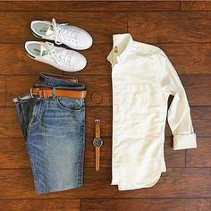 Casual Classics Grid by @chrismehan   Follow  @stylishgridgame    Brands ⤵ Shirt: @katobrand Jeans: @dstld Trainers: @adidasoriginals Watch: @avi_8 Belt: @levis Bracelet: @taft