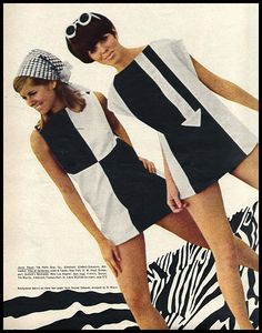 dresses are examples of mod fashion from the The mod look was very youthful and used a lot of crisp lines and geometric shapes. Dresses were short and bright. Mary Quant designed a lot of dresses that fit into this style. 1960s Mod Fashion, Sixties Fashion, Vintage Fashion, 1960s Fashion Dress, London Stil, Style Année 60, 1960s Style, Vintage Outfits, Mod Outfits