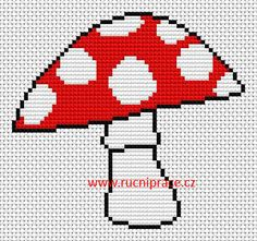 Toadstool, free cross stitch patterns and charts… Cross Stitch Designs, Cross Stitch Patterns, Cross Stitching, Cross Stitch Embroidery, Punto Fair Isle, Safety Pin Crafts, Cross Stitch For Kids, Fingerless Gloves Knitted, Plastic Canvas Patterns