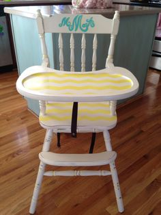 Hand painted antique high chair....chevron and a monogram, LOVE!!!